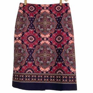 Talbots Bohemian Pattern Navy Peach Stretchy Skirt